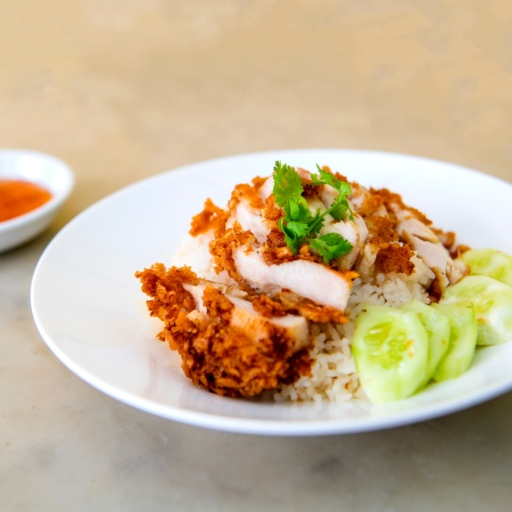 Crispy Chicken Fillet with Vegetable Rice